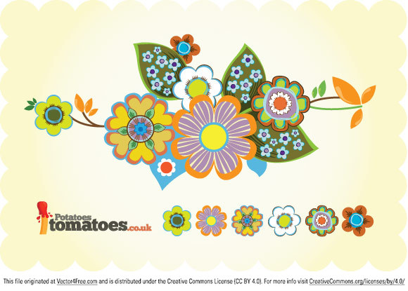 A collection of retro vector illustrations of flowers inspired by 60?s crockery.