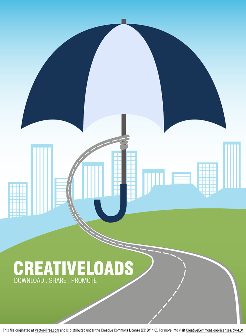 Introducing the new Vector Umbrella concept background. Abstract vector illustration of a road holding umbrella over the city to protect it.