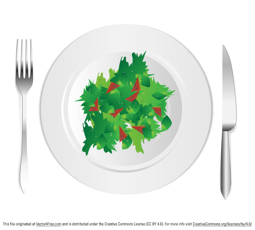 Free salad vector design with all the fresh greens and silverware that you can download for free. Created by www.digimadmedia.com