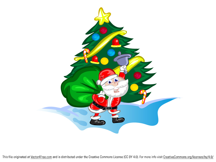 Here's a great Father Christmas vector file! This free vector Santa Claus is a great christmas character vector - Santa's holding a Christmas tree decorated with all the traditional fixin's.