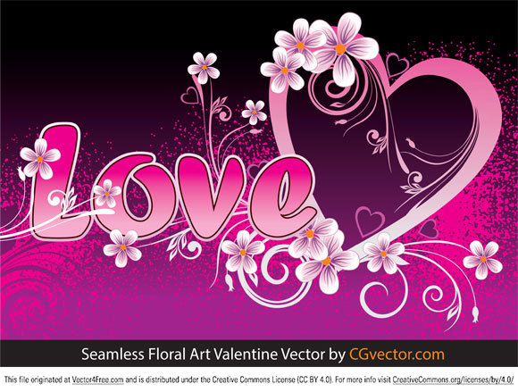 Vector pink grunge background with seamless floral art valentine day greeting card