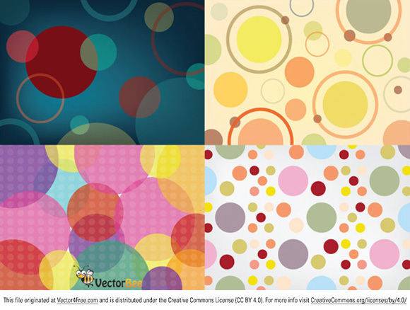 Four seamless vector circle patterns for background use.