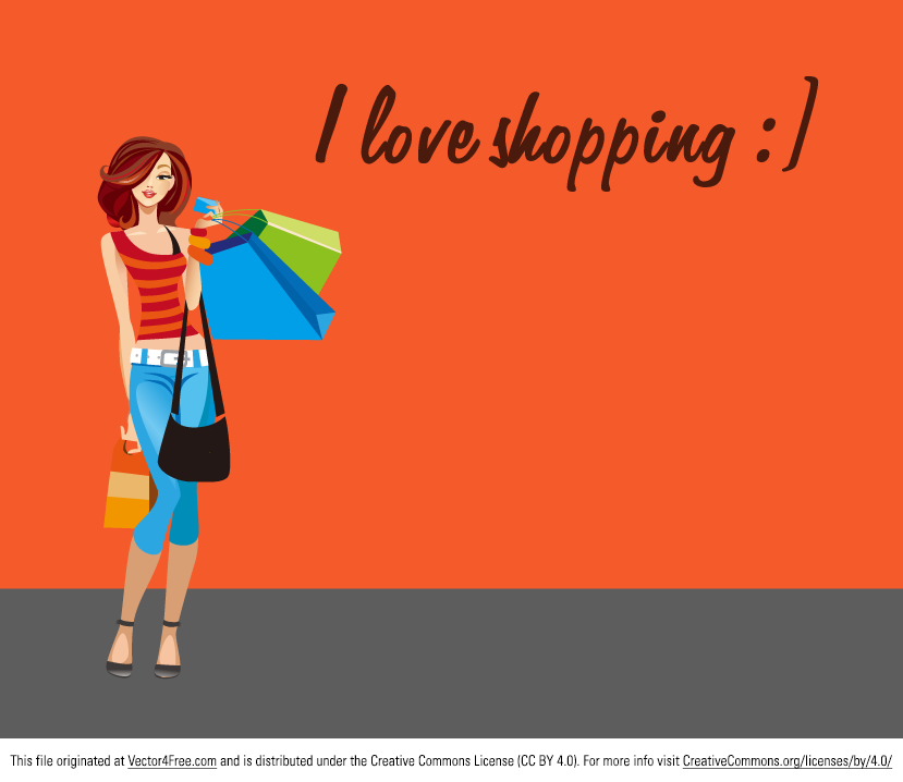 I love shopping, don't you? Today I have for you free vector Shopping girl. She is beautiful, yound and happy. Her hands are full of shopping bags.  For more free vector graphics visit VectorBeast.com