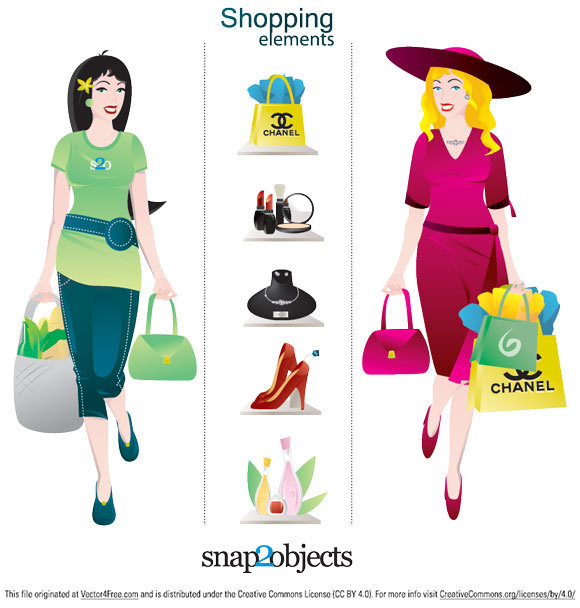 This Shopping Vector Pack includes such elements like: woman vector, bag, shopping bag vector, shoes vector, stilettos, cosmetics, perfumes, jewelry.