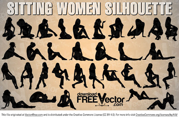 Vector collection sitting woman silhouette. Free for commercial used.  Link to  the author.