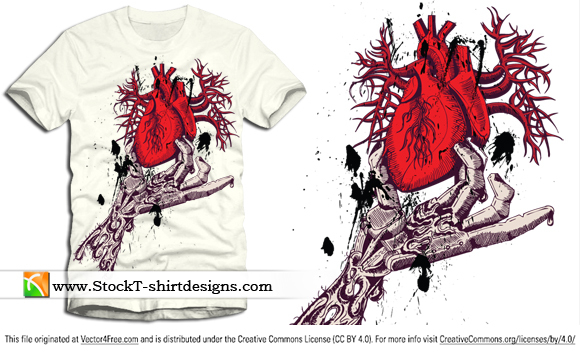 Skeleton hand holding anatomical red heart with free vector t-shirt design. Free vector T-shirt designs by www.StockT-shirtDesigns.com