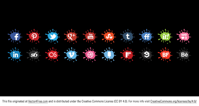 Need a fresh take on social media icon vectors? Check out my new free Creative Splat Vector Icons Set. Includes 20 most popular social media icons on the web. 