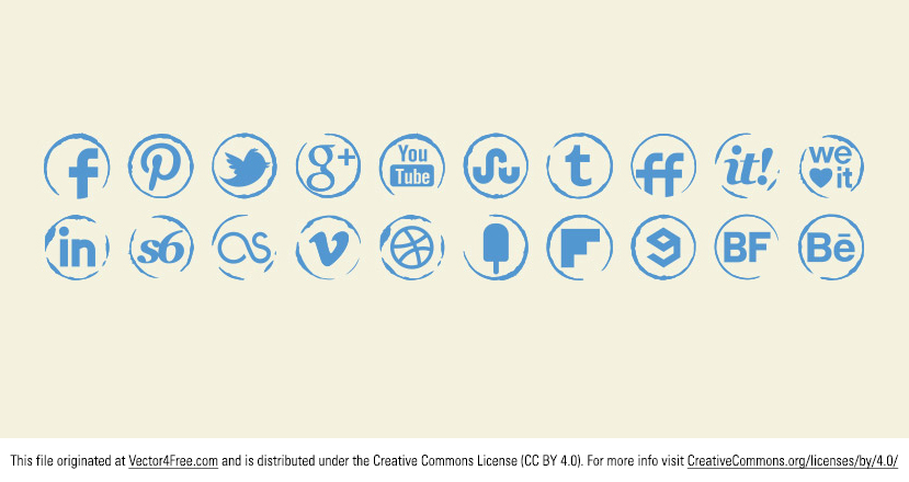 Wonderful original Stamp vector icons set for your use in your social media projects. Includes 20 most popular social media icons on the web. http://s-icons.com/stamp-icons-set/