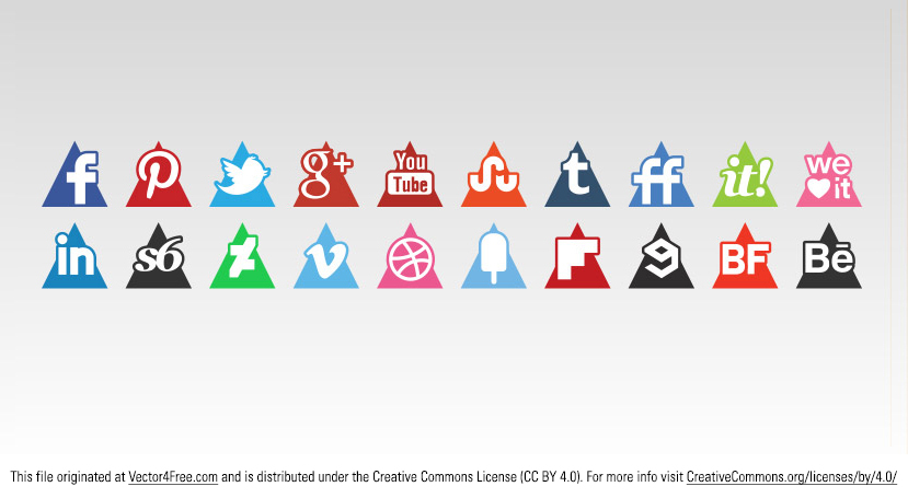 Need a trendy and fresh take on a social media icon vector set? Check out this Triangle Vector Icon Set, useful for promoting your website or social media profile. Includes 20 social media vector icons in triangle shape.  http://s-icons.com/triangles-icons-set/