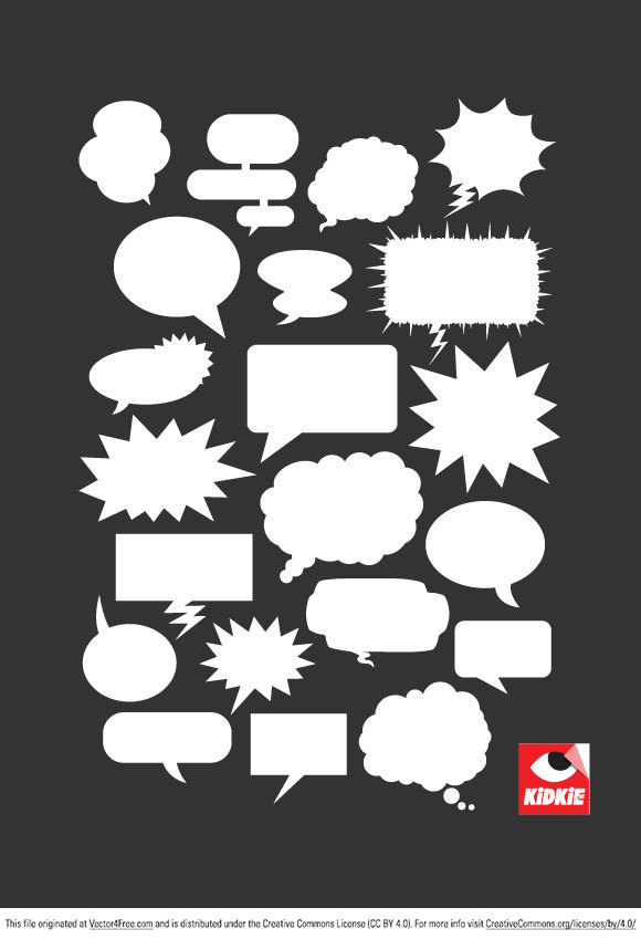 Cool collection of 21 vector speech balloons free for personal and commercial use. Made these comic bubbles vectors when I was having a hard time to find nice ones online. Download and have fun!