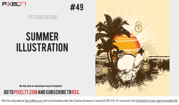 Today, the freebie is a retro summer illustration. There's not much to say about it, only that is looks really cool, it's clean and it's free. So go ahead and download!