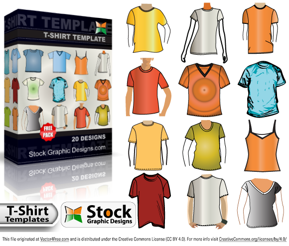 20 Free Illustrator Vector Apparel T-shirt Templates Vector Pack. Check Out Now! Royalty Free Stock Vector Images - Illustrations - Photoshop Brushes at www.StockGraphicDesigns.com