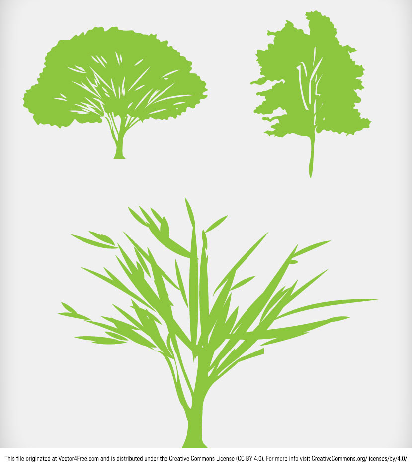 Here are some simple green tree vector silhouette icons created by www.digimadmedia.com