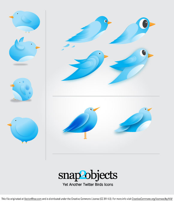 Free Twitter Birds Icons Vector are just lovely, and you can download them and use in your designs for free:)