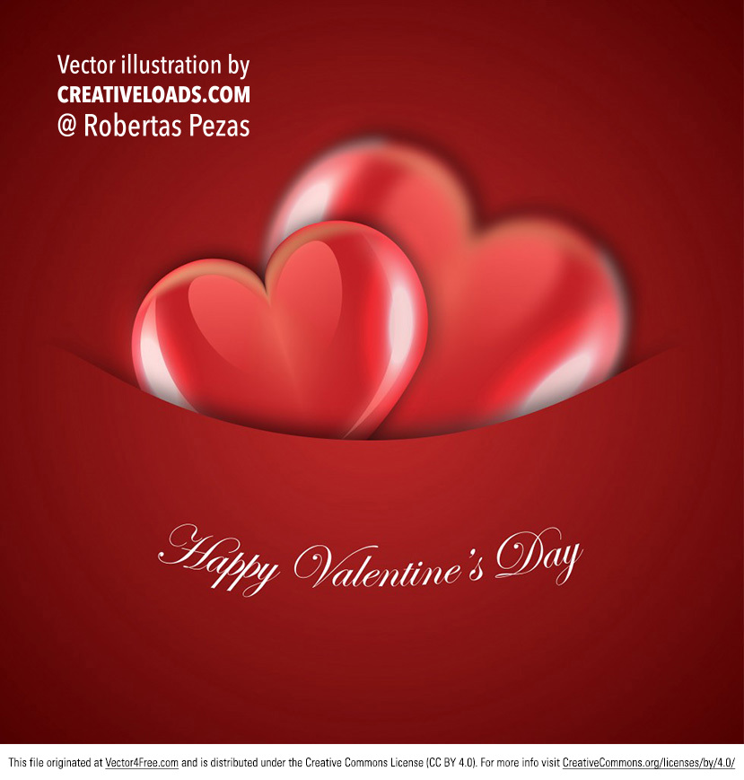 Vector card design for Valentine's day with two glossy shinny hearts - perfect for so many projects.