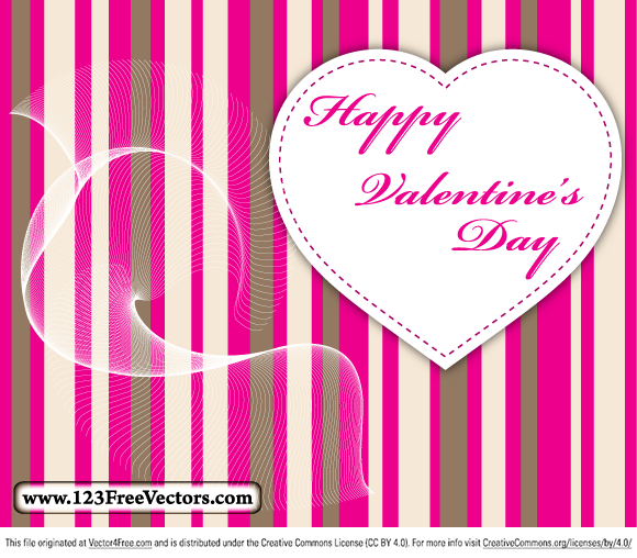 Valentine's day card vector free download. Free vector design by www.123FreeVectors.com