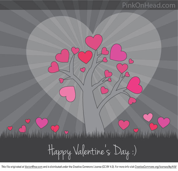 This cute Valentine Vector Card is free to download. This heart tree vector can be beautiful way to say I love you :) Happy Valentine's Day from PinkOnHead.com