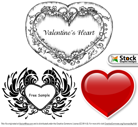 Free vector samples - Vector illustration of Valentine's Day vector series. Included in the set is Valentine's backgrounds, colorful hearts and hand drawn sketchy hearts. From www.StockGraphicDesigns.com