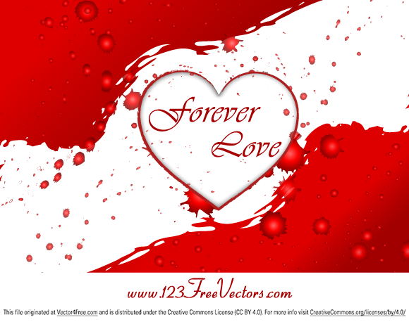 Valentine's Day Love Heart Free Vector Graphics Background by www.123FreeVectors.com