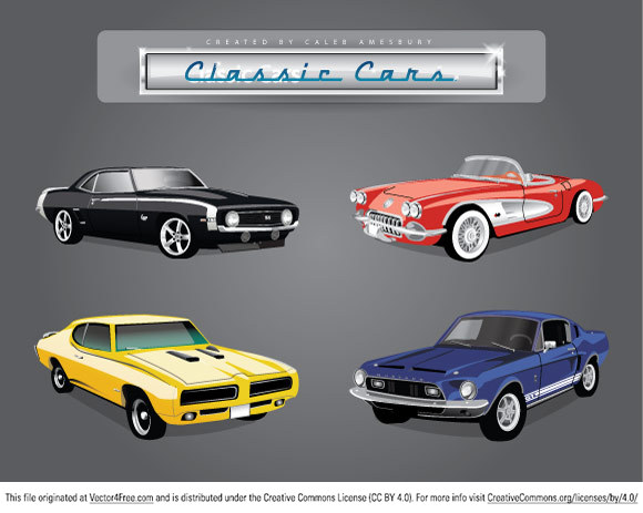 set of four great classic american cars 3 muscle car vector files and 1 classic