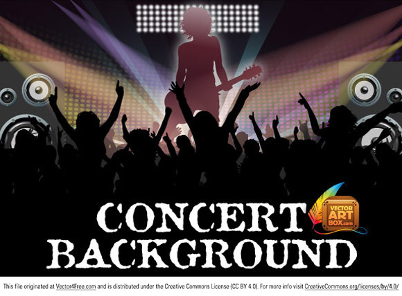 Download for free new one template for concert flyer.  People croud, artist, loudspeacers, concert lights you can find here. Free for commercial use.