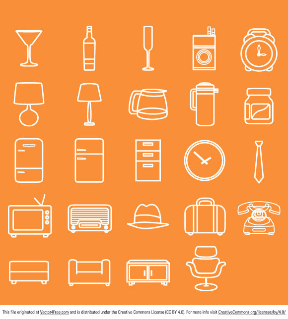 Minimal Retro Icon Pack was Inspired by Mad Men, the tv show.  This simple vector graphics are free for everyone. You can download and just play around with. This icon pack includes such vector elements like: appliances, furniture, clothes (glass, radio, alarm clock, tv, lamp, jug, fridge, clock, tie, suitcase, hat, chair, phone) all in retro style.