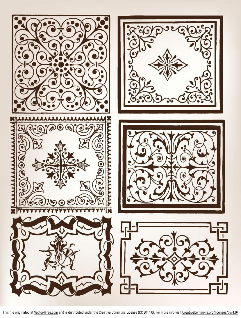 Free vector pack of 6 ornament elements. You can make ornament pattern of them or use them as decorative frame.