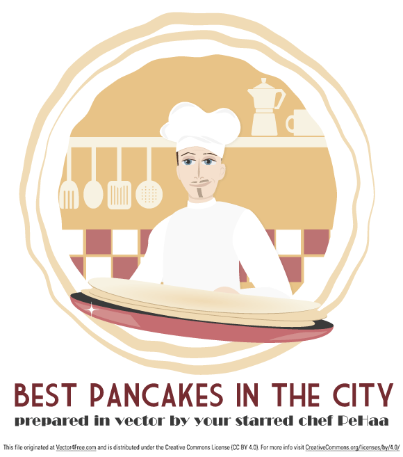 A vector artwork with a slight retro flavor illustrate your cuisine: a restaurant chef handling a frying pan. 