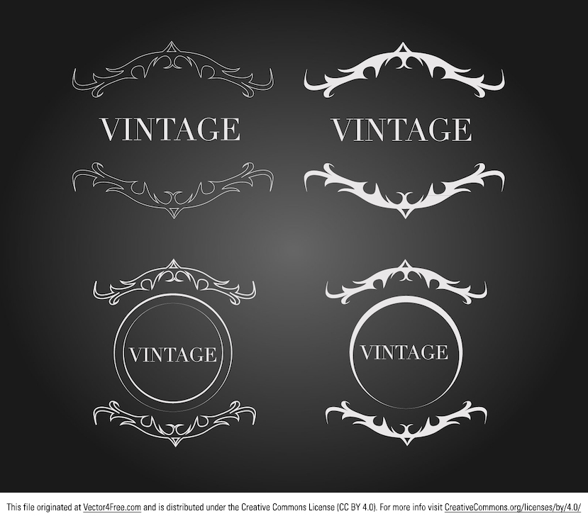 Free vintage ornament label vectors. Vector design featuring outlined and solid black and white vintage crest design by Digimad Media.