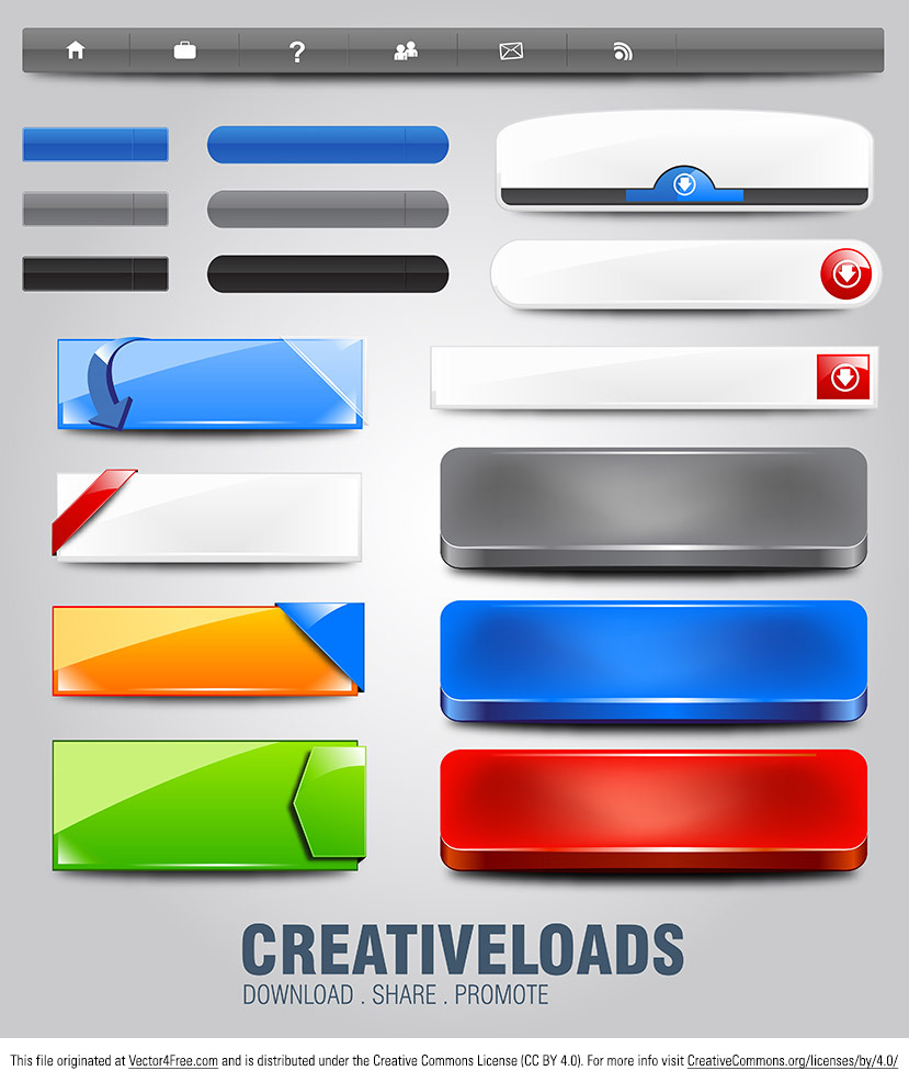 Set of various vector web button elements for web design including 3d button and user interface menu.