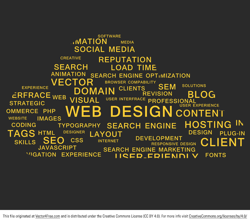 Web Design words cloud. EPS File. Great for a cloud computing concept piece.