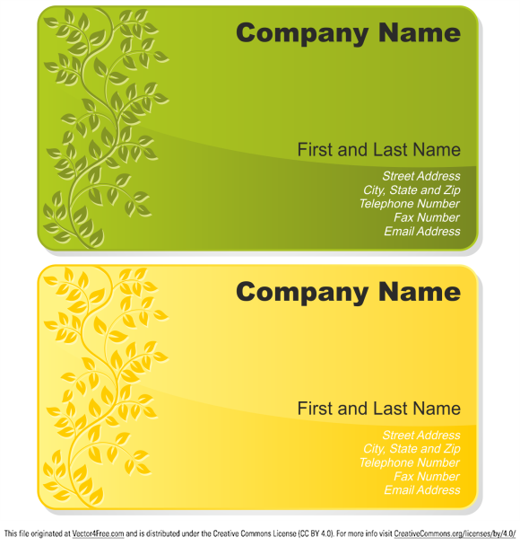 Floral business cards set. Free vector business card template