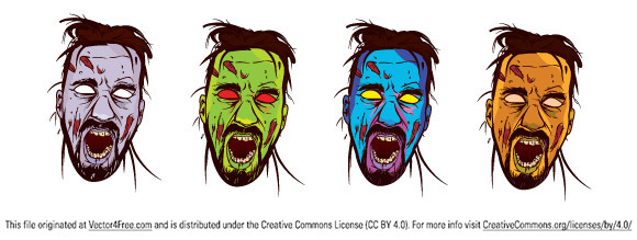 Cool zombie face vector file free to download for but only       for noncommercial use. Remember to visit author's site when you use it.